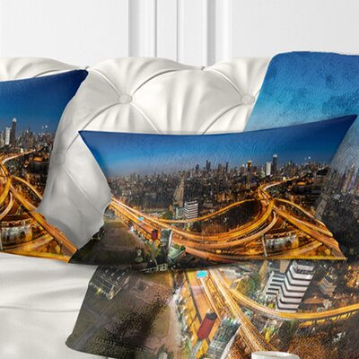 Highway and Main Traffic Bangkok Cityscape Pillow Size: 12 x 20, Product Type: Lumbar Pillow