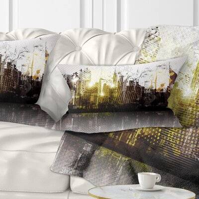 Grunge City Panorama Cityscape Pillow Size: 12 x 20, Product Type: Lumbar Pillow