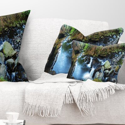 Creek with Hiking Trail Panorama Landscape Photography Pillow Size: 12 x 20, Product Type: Lumbar Pillow
