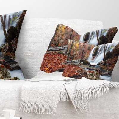 Crimea Waterfall in the Fall Landscape Photo Pillow Size: 12 x 20, Product Type: Lumbar Pillow