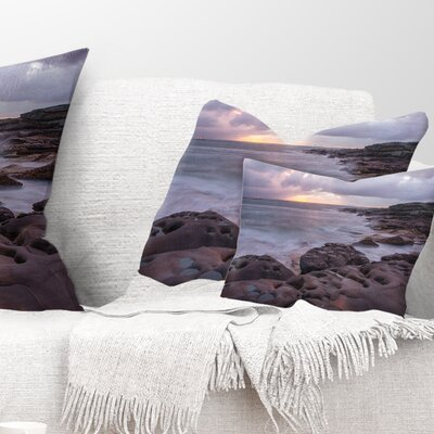 Australian Seashore with Large Rocks Seashore Pillow Size: 12 x 20, Product Type: Lumbar Pillow