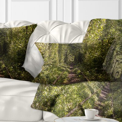 Tree Rail Tunnel in Forest Landscape Photo Pillow Size: 12 x 20, Product Type: Lumbar Pillow