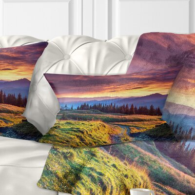Land Under overcast Sky Landscape Photography Pillow Size: 12 x 20, Product Type: Lumbar Pillow