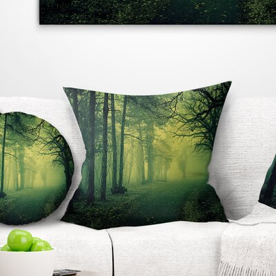 Light in Thick Mist Forest Landscape Photography Pillow Size: 18 x 18, Product Type: Throw Pillow