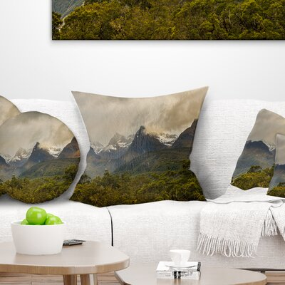 Mountains under Stormy Clouds Landscape Printed Pillow Size: 18 x 18, Product Type: Throw Pillow