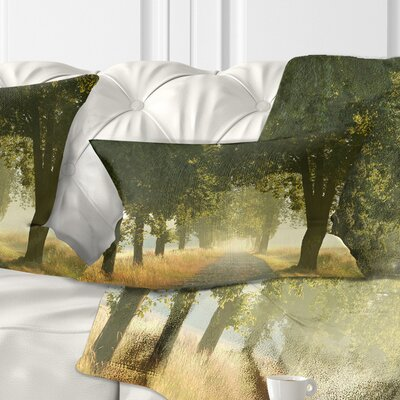 Rural Road Under Big Trees Landscape Photography Pillow Size: 12 x 20, Product Type: Lumbar Pillow
