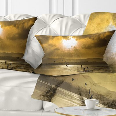 Glittering Sun Among heavy Clouds Seashore Pillow Size: 12 x 20, Product Type: Lumbar Pillow