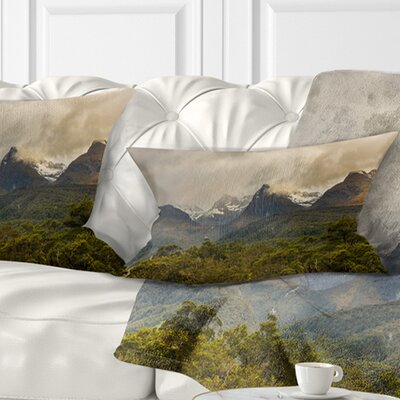 Mountains under Stormy Clouds Landscape Printed Pillow Size: 12 x 20, Product Type: Lumbar Pillow