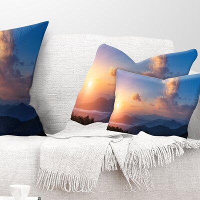 Cloudy Sky Above Mountains Landscape Photography Pillow Size: 12 x 20, Product Type: Lumbar Pillow