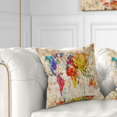World Map Pillow Size: 26 x 26, Product Type: Euro Pillow