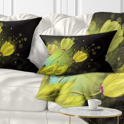 Flowers Greeting Card Floral Pillow Size: 12 x 20, Product Type: Lumbar Pillow
