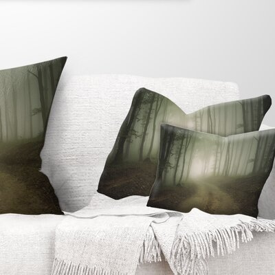 Fall Forest Road in Morning Landscape Photography Pillow Size: 12 x 20, Product Type: Lumbar Pillow