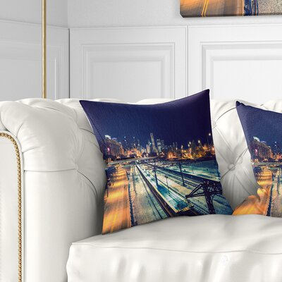 Welcome in Chicago Highway Traffic Cityscape Pillow Size: 26