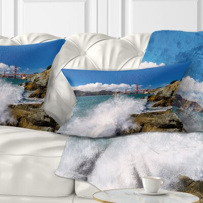 Gate Bridge in San Francisco Seashore Pillow Size: 12 x 20, Product Type: Lumbar Pillow