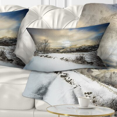 Snow Storm in Spain Landscape Photography Throw Pillow Size: 12 x 20, Product Type: Lumbar Pillow
