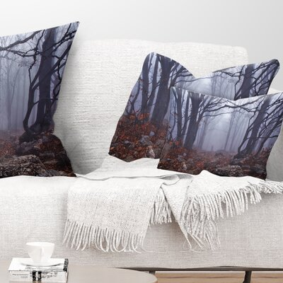 Foggy Forest in Autumn Landscape Photography Pillow Size: 12 x 20, Product Type: Lumbar Pillow