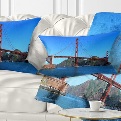 Gate Bridge under Sky Cityscape Pillow Size: 12 x 20, Product Type: Lumbar Pillow