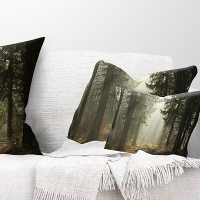 Forest with Sun Rays Landscape Photography Pillow Size: 12 x 20, Product Type: Lumbar Pillow