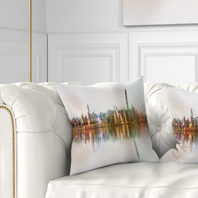 Singapore Financial District Panorama Cityscape Pillow Size: 16 x 16, Product Type: Throw Pillow