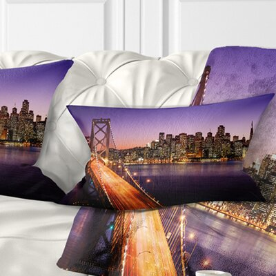 San Francisco Skyline and Bay Bridge Sea Bridge Pillow Size: 12 x 20, Product Type: Lumbar pillow