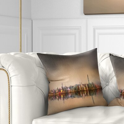 Singapore Financial District Skyscrapers Cityscape Pillow Size: 18 x 18, Product Type: Throw Pillow