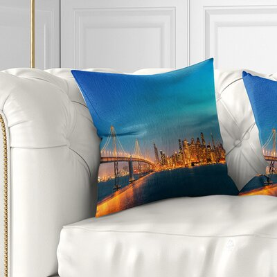 San Francisco Skyline at Night Cityscape Pillow Size: 18 x 18, Product Type: Throw Pillow
