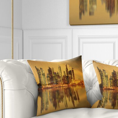 Singapore Marina Bay Skyscrapers Cityscape Pillow Size: 16 x 16, Product Type: Throw Pillow