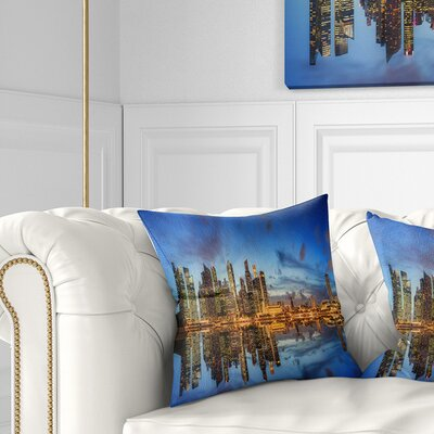 Singapore Skyline and View of Marina Bay Cityscape Pillow Size: 18 x 18, Product Type: Throw Pillow