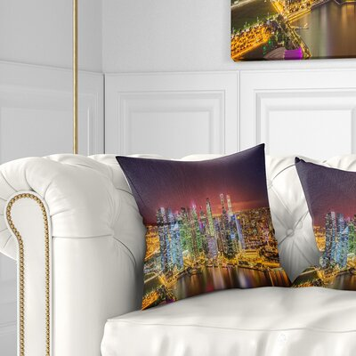 Singapore Skyline View of Marina Bay Cityscape Pillow Size: 18 x 18, Product Type: Throw Pillow