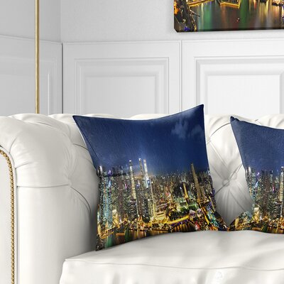 Singapore Skyscrapers Panorama Cityscape Pillow Size: 26 x 26, Product Type: Euro Pillow