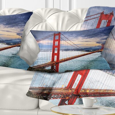 Gate under Cloudy Sky Sea Bridge Pillow Size: 12 x 20, Product Type: Lumbar Pillow