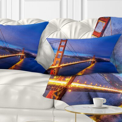 Gate in Background Sea Bridge Pillow Size: 12 x 20, Product Type: Lumbar Pillow