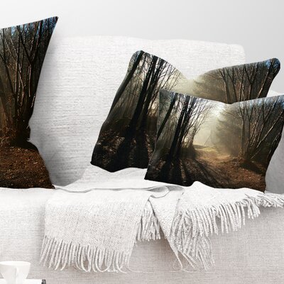 Path in Fall Foggy Forest Landscape Photography Pillow Size: 12 x 20, Product Type: Lumbar Pillow