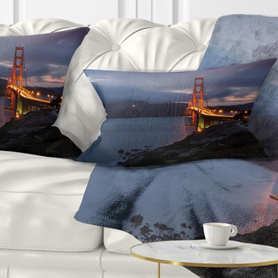 Gate with Night Illumination Sea Bridge Pillow Size: 12 x 20, Product Type: Lumbar Pillow