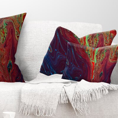Abstract Acrylic Paint Mix Abstract Pillow Size: 12 x 20, Product Type: Lumbar Pillow