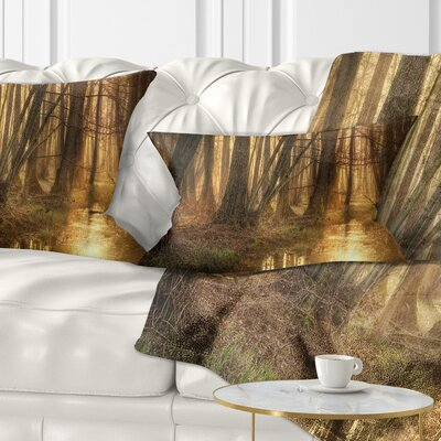 Morning in Dense Forest Landscape Photography Pillow Size: 12 x 20, Product Type: Lumbar Pillow