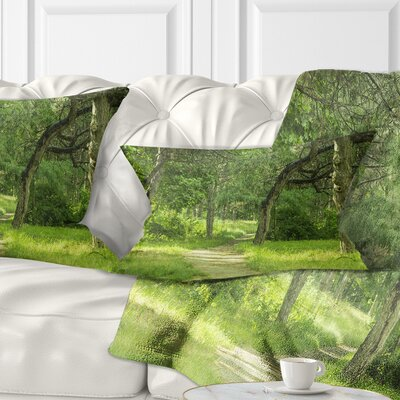 Forest Path in Early Summer Landscape Photography Pillow Size: 12 x 20, Product Type: Lumbar Pillow