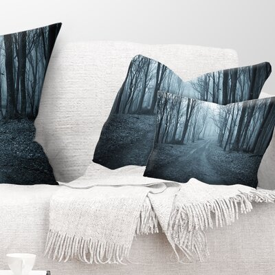 Scary Forest with Fog Landscape Photography Pillow Size: 12 x 20, Product Type: Lumbar Pillow
