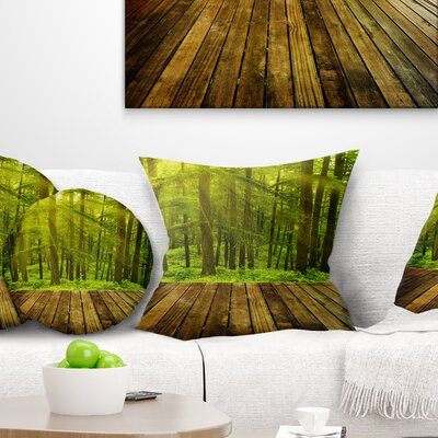 Sunlight in Pine Forest Landscape Photography Pillow Size: 18 x 18, Product Type: Throw Pillow