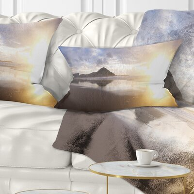 Sunset at Donostia Beach Seascape Pillow Size: 12 x 20, Product Type: Lumbar Pillow