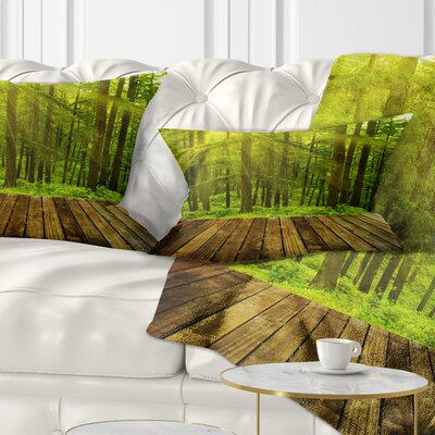 Sunlight in Pine Forest Landscape Photography Pillow Size: 12 x 20, Product Type: Lumbar Pillow