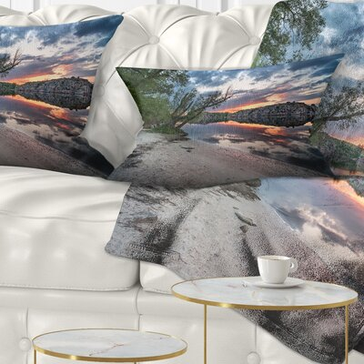Sunset at River with Large Rock Landscape Photo Pillow Size: 12 x 20, Product Type: Lumbar Pillow