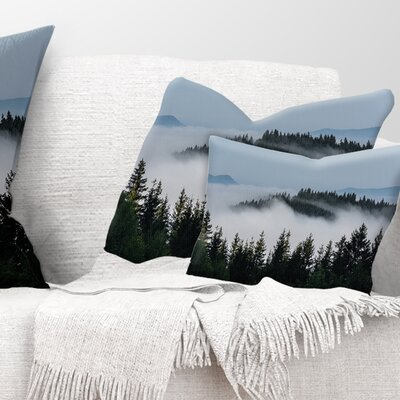 Trees and Fog over Mountains Landscape Printed Pillow Size: 12 x 20, Product Type: Lumbar Pillow