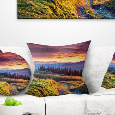 Land Under overcast Sky Landscape Photography Pillow Size: 18 x 18, Product Type: Throw Pillow