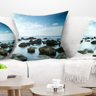 Sleeping Sea Under Sky Landscape Photo Pillow Size: 26 x 26, Product Type: Euro Pillow
