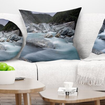 Slow Motion Mountain River and Rocks Landscape Printed Pillow Size: 18 x 18, Product Type: Throw Pillow