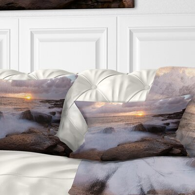 Waves Hitting Rocks in Australia Coastline Seashore Pillow Size: 12 x 20, Product Type: Lumbar Pillow
