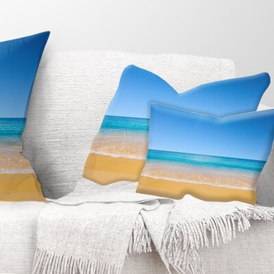 View of Tropical Beach Seashore Photo Pillow Size: 12 x 20, Product Type: Lumbar Pillow