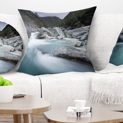 Slow Motion Mountain River in Blue Seashore Pillow Size: 16 x 16, Product Type: Throw Pillow