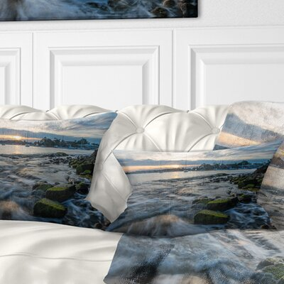 Waves Hitting Rocky Seashore Seashore Pillow Size: 12 x 20, Product Type: Lumbar Pillow